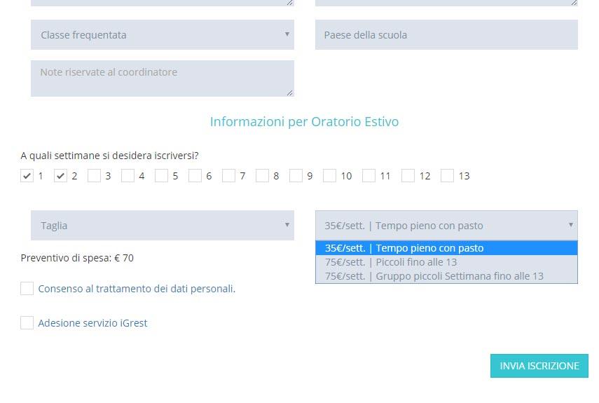 Personalizza la tua scheda di iscrizione - personalizza la form