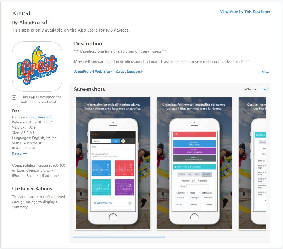 iGrest per iOS - applestore